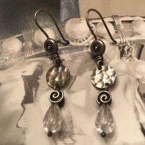 Silpada Sterling Swirl Disc Crystal Drop Earrings